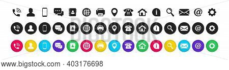Business Card Icon Set. Name, Mobile, Location, Place, Phone, Email, Fax, Web, Contact Us, Informati