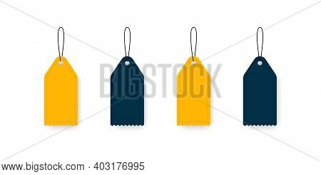Labels Tags Concept. Blank Price Tags Or Gift Tags. Set Of Labels With Cord. Vector Illustration