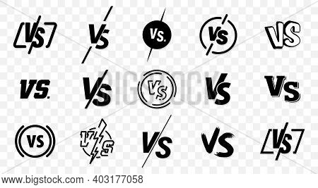 Set Of Versus Logo Letters. Versus Or Vs Letters Logo Symbol Design Template. Vs Letters For Sports,
