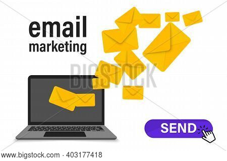 Concept Of E-mail Marketing Design Campaign. Sending Emails From Your Computer. Email Marketing Camp