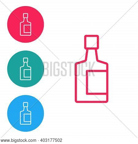 Red Line Tequila Bottle Icon Isolated On White Background. Mexican Alcohol Drink. Set Icons In Circl