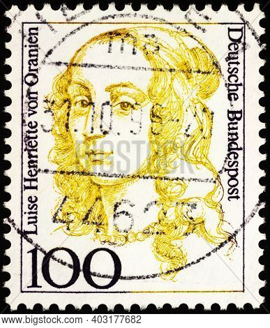 Moscow, Russia - January 11, 2021: Stamp Printed In Germany Shows Portrait Of Dutch Princess Luise H