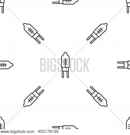 Grey Line Light Emitting Diode Icon Isolated Seamless Pattern On White Background. Semiconductor Dio