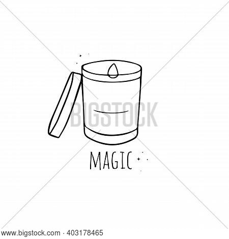 Hand Drawn Burning Candle In Glass Sketch Symbol Isolated On White Background. Vector Candle Sketch