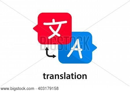 Chat Bubbles With Language Translation Icons. Online Multi Language Translator. Translation App Icon
