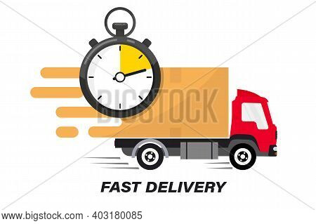 Shipping Fast Delivery Truck With Clock. Online Delivery Service. Express Delivery, Quick Move. Fast