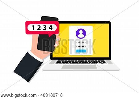 Two Factor Or Multi Factor Authentication In Smartphone And Laptop. Duo Verification. Verify Permiss