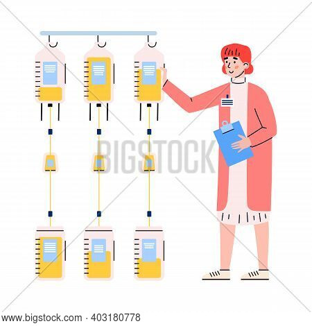 Blood Banking Laboratory Employee Female Cartoon Character Registering Bags Of Donated Blood, Flat V