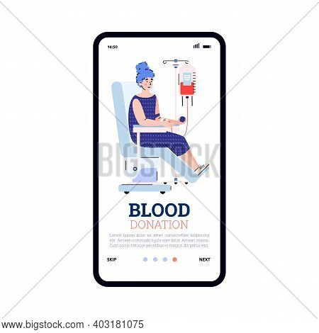 Mobile App On Phone Screen For Awareness About Blood Donation. Female Donor Volunteer Sitting In Med