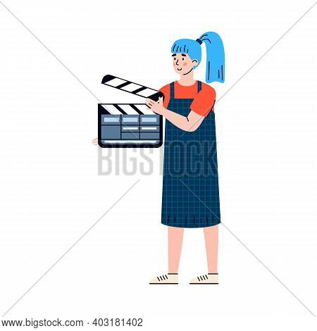 Movie Director Assistant Woman With Clapper Cartoon Character, Flat Vector Illustration Isolated On