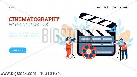 Cinematography Working Process Website Page Template, Flat Cartoon Vector Illustration. Landing Page