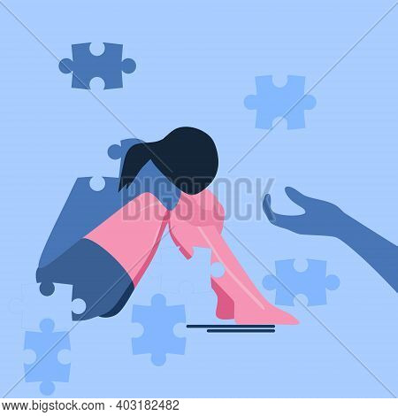 Psychotherapy Support Concept.young Woman Sits On The Floor, She Falls Apart Into Separate Puzzles.p