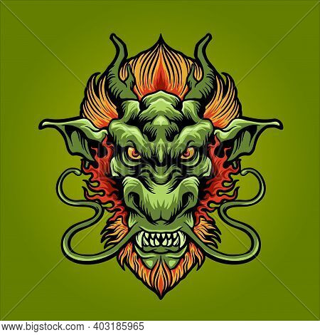 Dragon Head Logo Mascot For Your Work Logo Merchandise Clothing Line, Stickers And Poster, Greeting