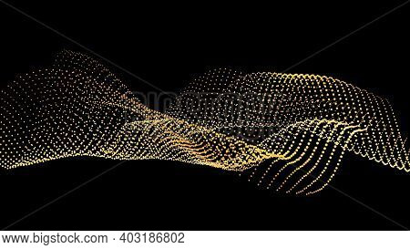 Sound Wave From Node. Gold Interface Big Data Flow. Copy Space Cover Template. Vector Swirl Isolated