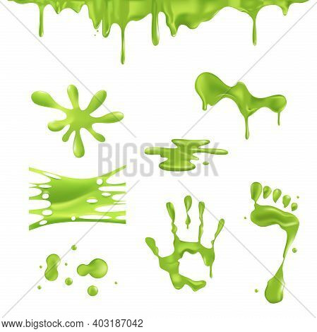Green Spots And Drips Slime. Green Cartoon Slime, Sticky Dripping Mucus.