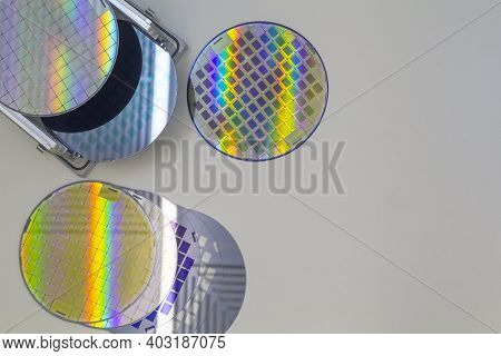Prepare A Many Silicon Wafers On Aluminium Table For Examination Appearance Each Wafers, Top View.