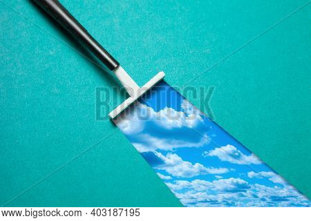 One Disposable Female Razor For Depilation With Shaving Mark With Sky On Green Background