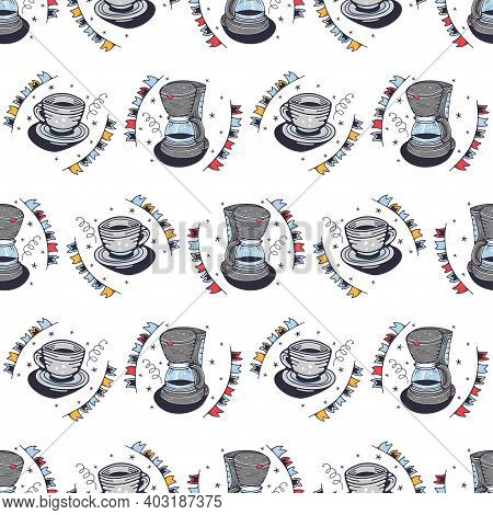 Coffee Maker And Mug. Seamless Pattern On A White Background. Cute Vector Illustration.