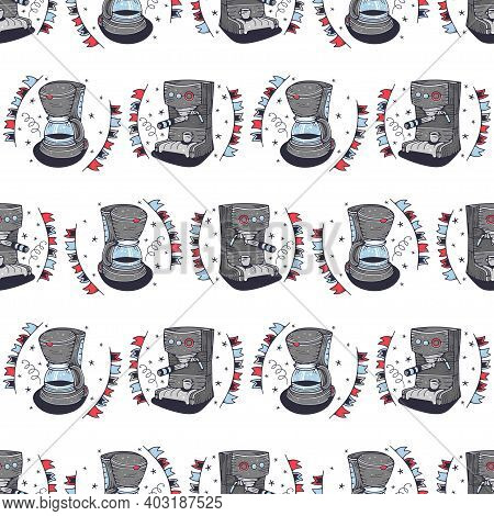 Coffee Makers. Seamless Pattern On A White Background. Cute Vector Illustration.