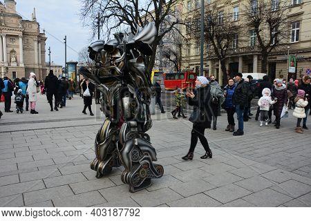 Metal Robot Head.conceptual Cyborg Design.robot Transforming . Alien Organism.