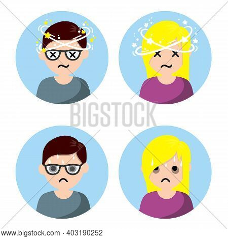 Dizziness And Nausea. Painful And Weak Condition Of Man And Woman. Comic Star Spinning Around Head.