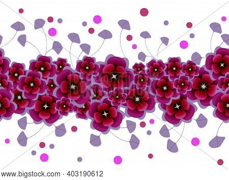 Floral Seamless Border From Flowers And Leaves Of Purple And Lilac Color On White Background. Vector