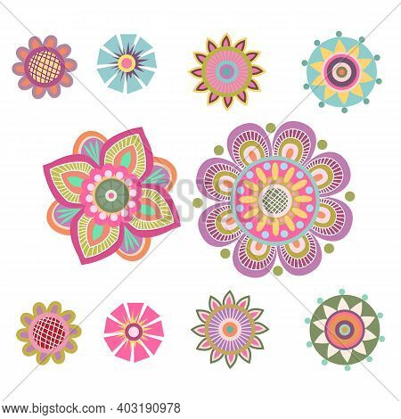 Composition Of Folklore Elements, Stylized Colors And Patterns. Greeting Card Of Folk Art, Banner, C