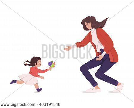 Joyful Meeting Of Mom And Daughter. Family Walk. Love. Time With Your Child. Happy Emotions And Girl