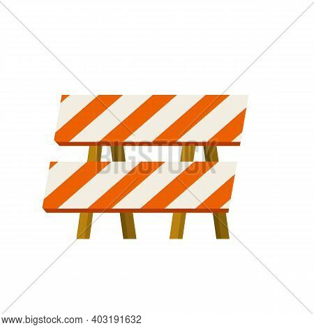 Road Works. Forbidding Sign And Barrier. Building Block Of The Highway. Danger Zone. Cartoon Flat Il
