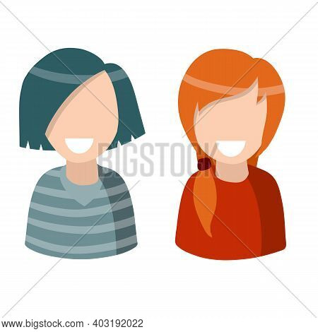 Set Of Women. Cute Female Characters. Brunette And Red Hair. Two Modern Young Girls. Avatar For Soci