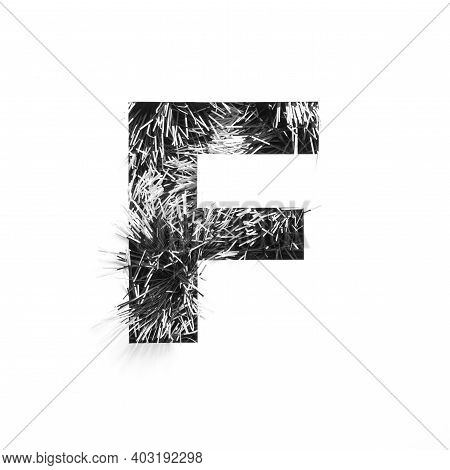 Black Letter F Of English Alphabet Of Monochrome Tinsel And Paper Cut Isolated On White. Typeface In
