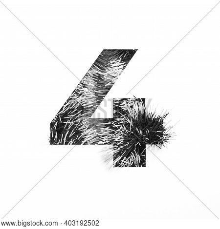 Black Number Four Made Of Tinsel And Paper Cut In Shape Of Fourth Numeral Isolated On White. Monochr