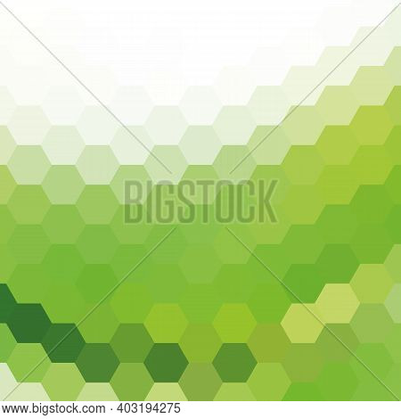 Green Vector Background With Hexagons. Abstract Illustration With Colorful Hexagons.