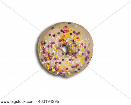 Beautiful Round Doughnut Glazed With White Chocolate And Colorful Bright Yellow, Purple, Pink And Wh