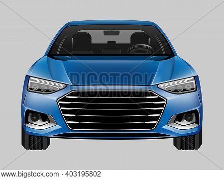 Car Vector On Background. Business Sedan Isolated. Vehicle Branding Mockup