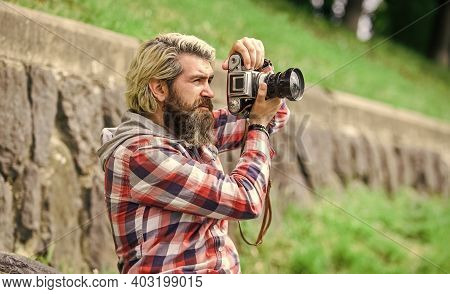 Content Creator. Masterpiece Shot. Man With Beard Shooting Photos. Photographer Concept. Man Bearded