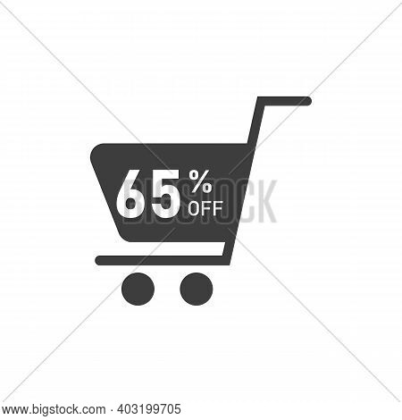 Sale Tag With Pie Chart Diagram Icon. 65 Percent Sale Black Isolated With Shadow. Flat Design Style.