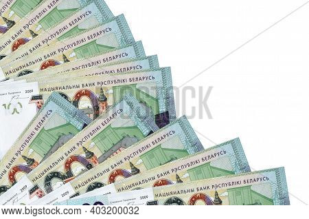 100 Belorussian Rubles Bills Lies Isolated On White Background With Copy Space Stacked In Fan Close