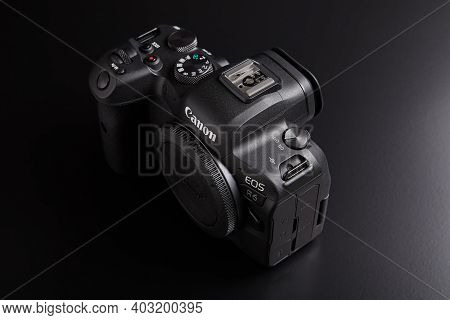 St. Petersburg, Russia - January 9, 2021: Full-frame Mirrorless Camera Canon Eos R6 Body.