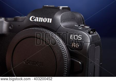 St. Petersburg, Russia - January 9, 2021: Canon Eos R6 Full-frame Mirrorless Digital Camera.
