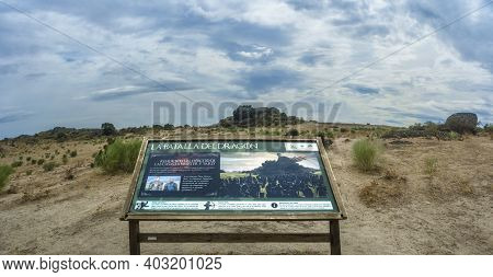 Malpatida De Caceres, Spain - Sept 13th, 2019: Sign Post Pointing Where Took Place The Recording Of