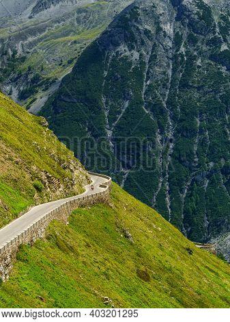 Mountain Landscape Along The Road To Stelvio Pass, Bolzano Province, Trentino-alto Adige, Italy, At