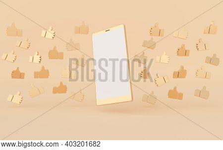 Like Icon 3d Rendering. Social Media Notification. Social Network Symbol Background. Hand, Big Finge