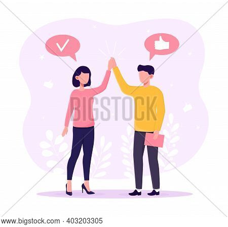 Male And Female Character Congratulating Each Other. Two Partners Clap Hands High Five. Concept Of T