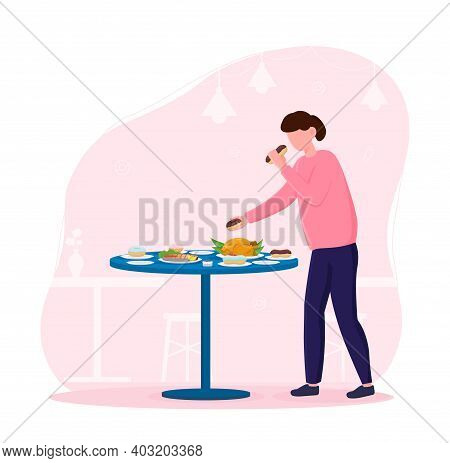 Female Character Standing Next To Table And Eating Junk Food. Concept Of Unhealthy Nutrition. Woman