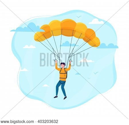 Male Skydiver Flying With A Parachute. Concept Of Parachuting Sport And Leisure Activity. Extreme Li