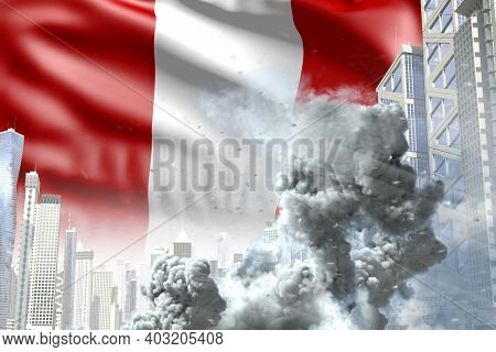 Huge Smoke Column In The Modern City - Concept Of Industrial Catastrophe Or Terroristic Act On Peru