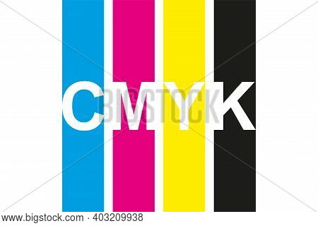 Cmyk Print Icon. Four Lines In Cmyk Colors Symbol. Cyan, Magenta, Yellow, Key, Black Stripes Isolate