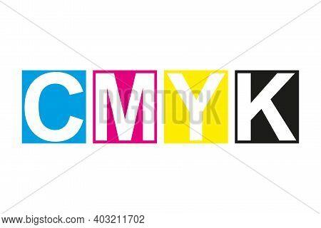 Cmyk Print Icon. Four Squares In Cmyk Colors Symbol. Cyan, Magenta, Yellow, Key, Black Stripes Isola