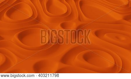 Abstract Minimalistic Background With Orange Noise Wave Field. Detailed Displaced Surface. Modern Ba